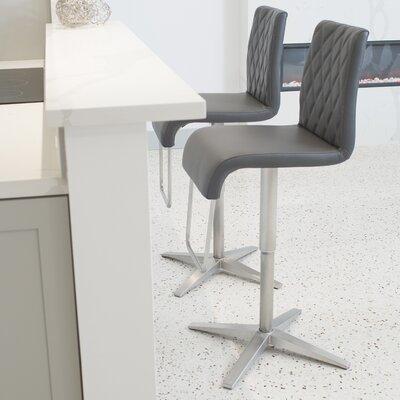 Helfer High-Back Adjustable Height Swivel X Base Bar Stool Upholstery: Gray