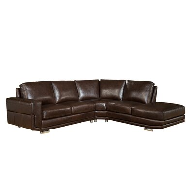Haverville Leather Sectional Upholstery: Dark Brown