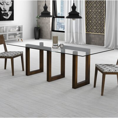 Reesa Rectangular  Dining Table Base Finish: Java, Size: 60 L x 44 W
