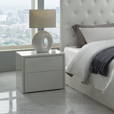 Austral 2 Drawer Nightstand (Set of 2) Color: White High Gloss