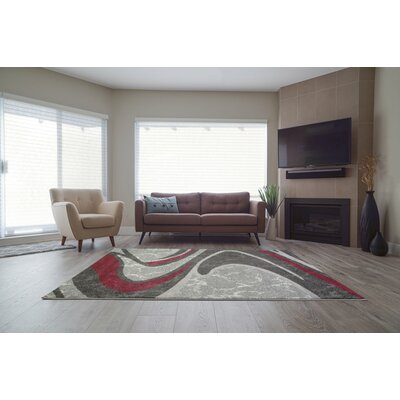 Spruce Hill Spirals Red/Dark Gray Area Rug Rug Size: Rectangle 3'11