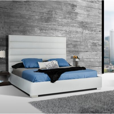 Camron Upholstered Platform Bed Size: Queen, Color: White
