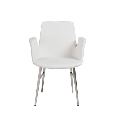 Pranav Armchair in Blue with Brushed Stainless Steel Legs Color: White
