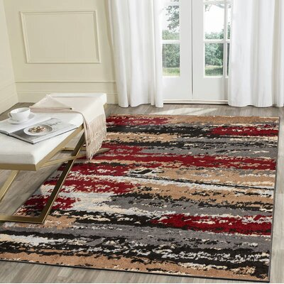 Hammitt Anthracite Burgundy Area Rug Rug Size: Rectangle 79 x 95
