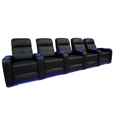 LED Manual Home Theatre Upholstered Row Seating With Arms (Row of 5) OREL3714 40157196