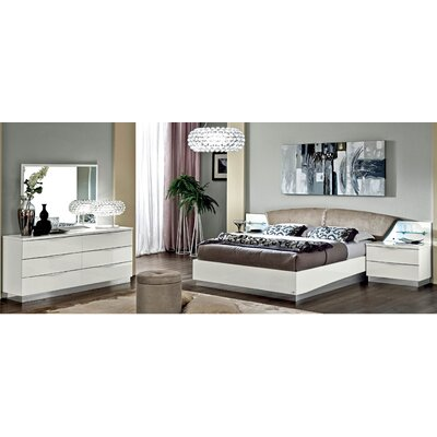 Edwards Upholstered Panel Bed Color: White, Size: King