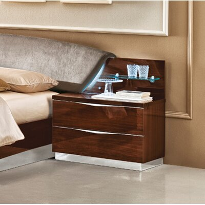 Edwards 2 Drawer Nightstand Color: Walnut