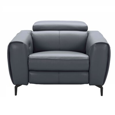 Nakale Motion Genuine Leather Reclining Loveseat Upholstery: Blue Gray