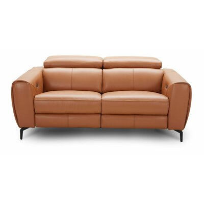 Nakale Motion Genuine Leather Reclining Loveseat Upholstery: Caramel