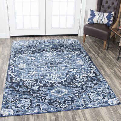 Hillcrest Light Blue Area Rug Rug Size: Rectangle 53 x 76