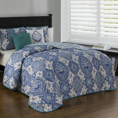 Brazeal 5 Piece Quilt Set Size: Queen, Color: Teal