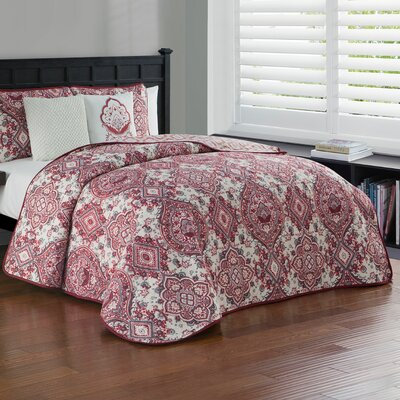 Abby 5 Piece Quilt Set Size: King, Color: Red