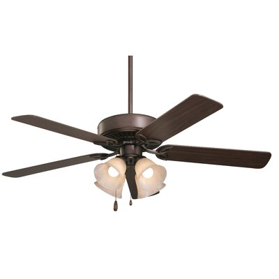 50 Kelsi Plus 5 Blade LED Ceiling Fan Finish: Oil Rubbed Bronze with Cherry/Medium Oak Blades, Glass Type: Amber Scavo Glass
