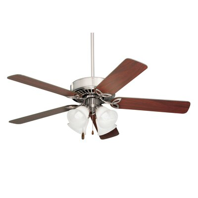 50 Kelsi Plus 5 Blade Ceiling Fan Finish: Brushed Steel with Cherry/Mahogany Blades, Glass Type: Alabaster Swirl Glass