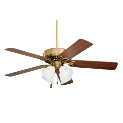 50 Kelsi Plus 5 Blade LED Ceiling Fan Finish: Antique Brass with Walnut/Medium Oak Blades, Glass Type: Alabaster Swirl Glass