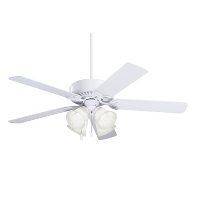 50 Kelsi Plus 5 Blade LED Ceiling Fan Finish: Appliance White with White/Bleached Oak Blades, Glass Type: Alabaster Swirl Glass