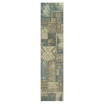Ramona Beige/Blue Area Rug Rug Size: Runner 27 x 8