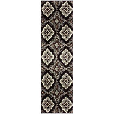 Katlin Black/Bluish-gray Area Rug Rug Size: Runner 27 x 8