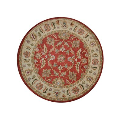 Morrisonville Hand-Tufted Wool Red/Beige Area Rug Rug Size: Round 8