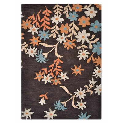 Karli Hand-Tufted Wool Brown Area Rug Rug Size: 5 x 8