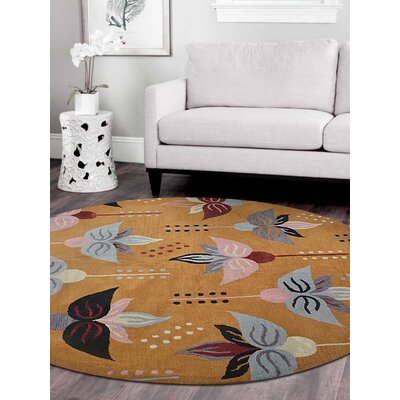 Britany Hand-Tufted Wool Gold Area Rug Rug Size: Rectangle 5 x 8