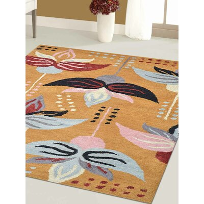 Britany Hand-Tufted Wool Gold Area Rug Rug Size: Runner 26 x 12