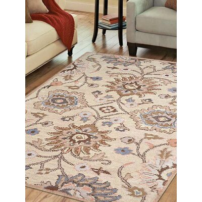 Karlie Hand-Tufted Wool Cream Area Rug Rug Size: 5 x 8