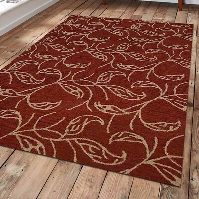 Loren Hand-Tufted Wool Red Area Rug Rug Size: 5 x 8