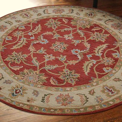 Alina Hand-Tufted Wool Red/Beige Area Rug Rug Size: Round 8