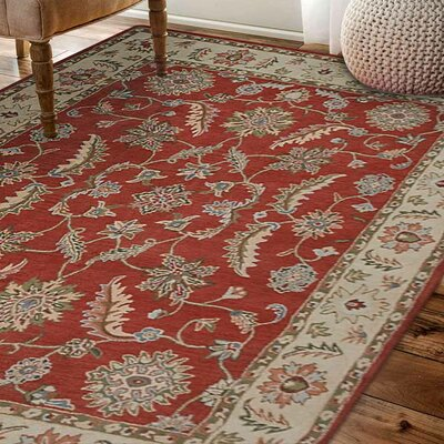 Alina Hand-Tufted Wool Red/Beige Area Rug Rug Size: Round 6