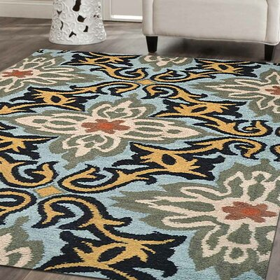 Kaylie Hand-Tufted Wool Blue Area Rug Rug Size: 8 x 11
