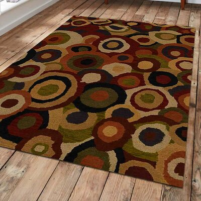 Jalisa Hand-Tufted Wool Green/Red/Orange Area Rug Rug Size: 4 x 6