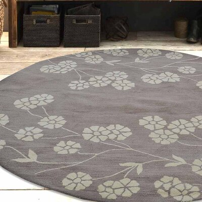 Kori Hand-Tufted Wool Beige/White Area Rug Rug Size: Round 8