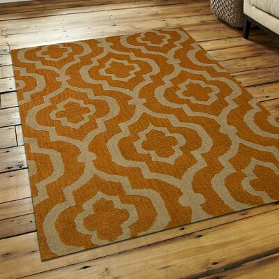 Lucero Hand-Tufted Wool Gold/White Area Rug Rug Size: 4 x 6