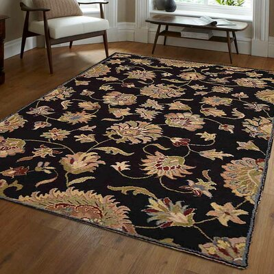 Alycia Hand-Tufted Wool Black Area Rug Rug Size: 9 x 12