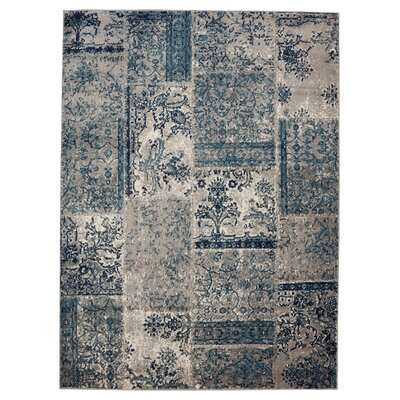 Travis Floral Patchwork Gray/Teal Area Rug Rug Size: 53 x 73