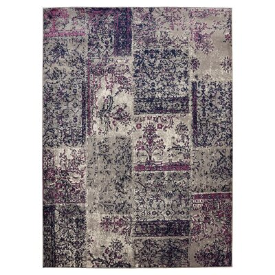 Travis Floral Patchwork Gray/Purple Area Rug Rug Size: 710 x 910