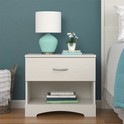 Poulson 1 Drawer Nightstand Color: Vintage White