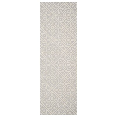 Mahoney Hand-Tufted Light Gray/Ivory Area Rug Rug Size: Rectangle 26 x 8