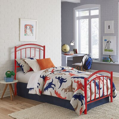 Kristy Complete Kids Panel Bed Size: Twin, Color: Tomato Red