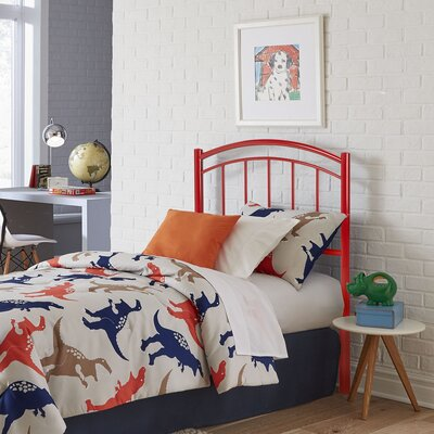 Kristy Metal Kids Open-Frame Headboard Size: Twin, Color: Tomato Red