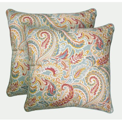 Caldwell 100% Cotton Throw Pillow Color: Coral/Blue