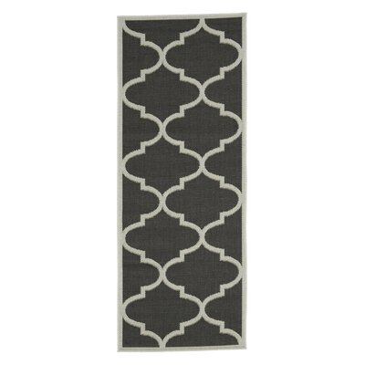 Emma Morroccan Trellis Power Loom Black Indoor/Outdoor Area Rug Rug Size: Runner 27 x 7