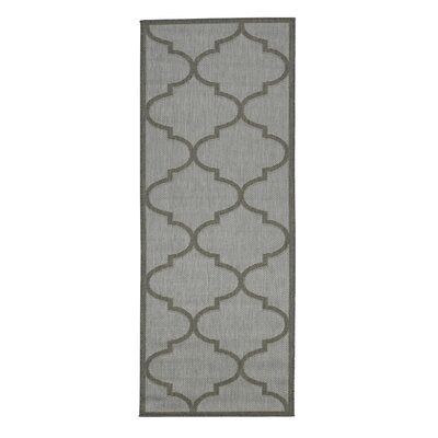 Emma Morroccan Trellis Power Loom Light Gray Indoor/Outdoor Area Rug Rug Size: Runner 27 x 7