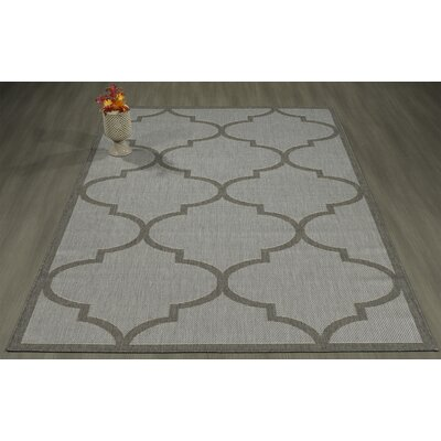 Emma Morroccan Trellis Power Loom Light Gray Indoor/Outdoor Area Rug Rug Size: 53 X 73