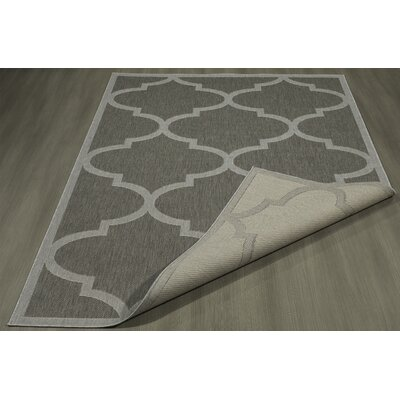 Emma Morroccan Trellis Power Loom Dark Gray Indoor/Outdoor Area Rug Rug Size: 53 X 73