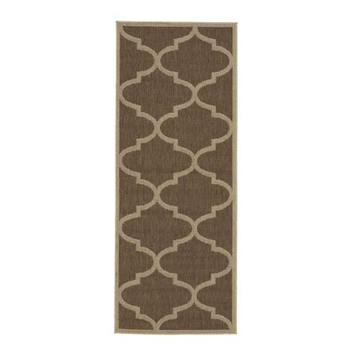 Emma Morroccan Trellis Power Loom Brown Indoor/Outdoor Area Rug Rug Size: Runner 27 x 7