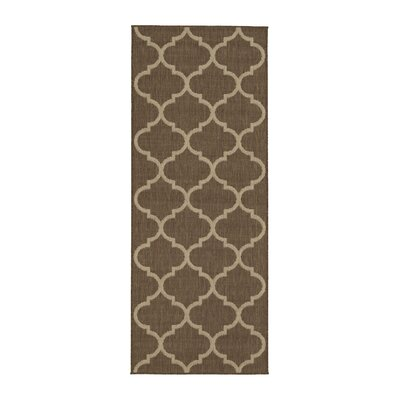Emma Trellis Power Loom Brown Indoor/Outdoor Area Rug Rug Size: Runner 27 x 7