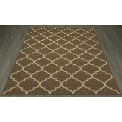 Emma Trellis Power Loom Brown Indoor/Outdoor Area Rug Rug Size: 53 X 73