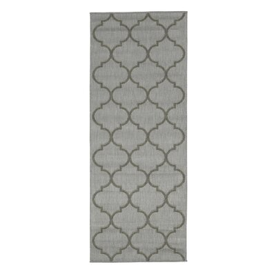 Emma Trellis Power Loom Light Gray Indoor/Outdoor Area Rug Rug Size: Runner 27 x 7